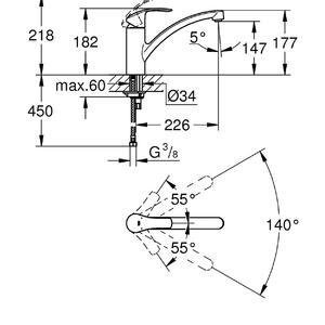 схема кухненски смесител стоящ за мивка 33281002