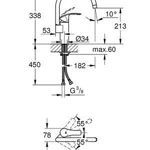 схема на кухненски смесител стоящ с висок чучур