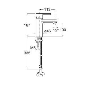 Схема на смесител за умивалник Naia A5A3A96CN0
