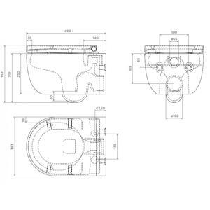 Схема на конзолна тоалетна чиния Bocchi Tondo Rimless
