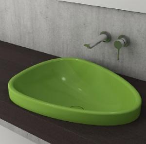 Мивка за баня Bocchi Etna - за полувграждане в плот, цвят- зелен гланц, 58 см