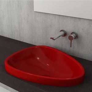 Мивка за баня Bocchi Etna - за полувграждане в плот, цвят- червен гланц, 58 см
