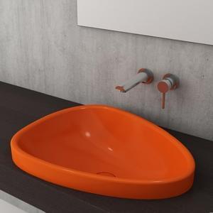 Мивка за баня Bocchi Etna - за полувграждане в плот, цвят- оранжев гланц, 58 см
