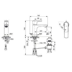 Схема на смесител стоящ за умивалник  CONNECT AIR BLUESTART® A7008А2