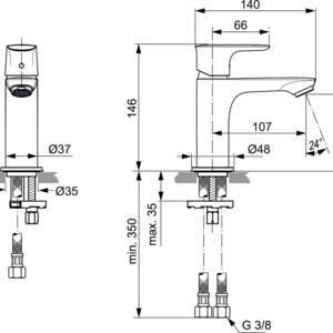 Схема на смесител стоящ за умивалник  CONNECT AIR  A7010GN
