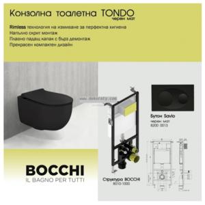 Висяща чиния черен мат TONDO Rimless със Slim капак и структура Bocchi