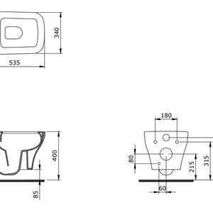 Схема на конзолна тоалетна чиния с биде Firenze Rimless