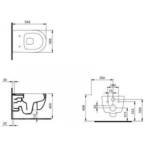 схема на конзолна тоалетна чиния Bocchi V- Tondo Rimless