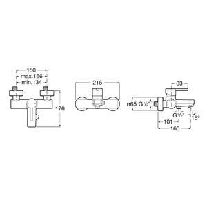 Схема на смесител за вана/душ NAIA A5A0296CN0