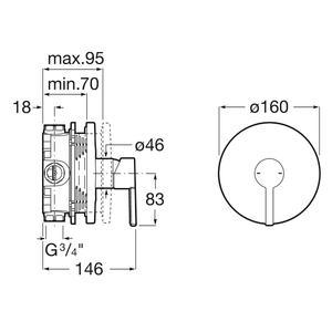 Схема на вграден  смесител за душ NAIA A5A2B96CN0