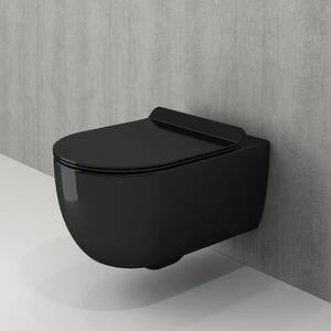Конзолна тоалетна чиния Bocchi Tondo Rimless черен гланц, тънък капак