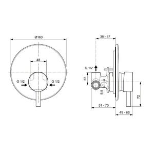 Схема на смесител вграден за душ CERALINE A6940