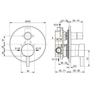 Схема на смесител вграден за вана/душ CERALINE A6939