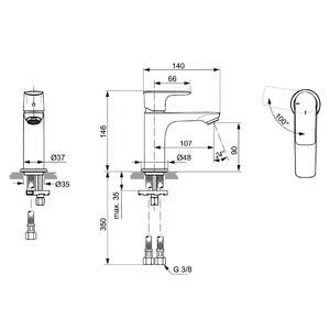 Схема на смесител стоящ за умивалник  CONNECT AIR BLUESTART® A7011A5