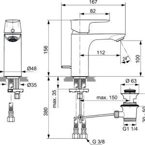 Схема на смесител стоящ за умивалник  CONNECT AIR  A7021A2