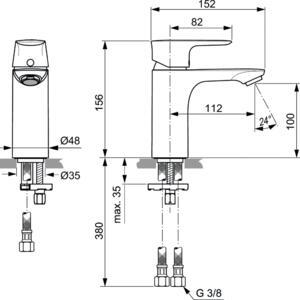 Схема на смесител стоящ за умивалник  CONNECT AIR  A7024A5