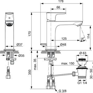 Схема на смесител стоящ за умивалник Grande CONNECT AIR  A7012