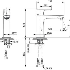 Схема на смесител стоящ за умивалник Grande CONNECT AIR  A7015GN