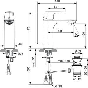 Схема на смесител стоящ за умивалник Grande CONNECT AIR  A7053