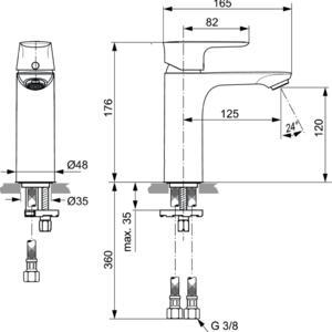 Схема на смесител стоящ за умивалник Grande CONNECT AIR  A7055GN