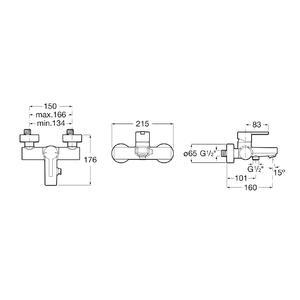 Схема на смесител за вана/душ NAIA A5A0296C00