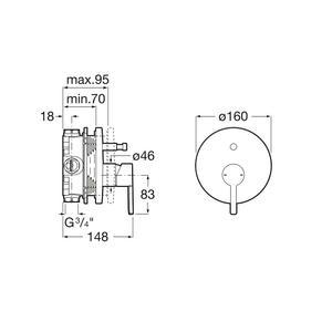 Схема на вграден  смесител за вана/душ NAIA A5A0B96C00