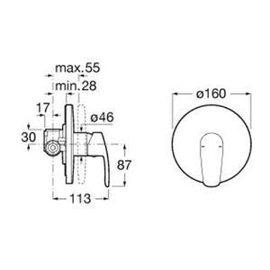 Схема на вграден  смесител за душ Monodin A5A2298C00