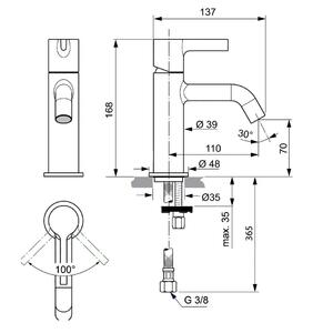 Схема на смесител за умивалник JOY BC776GN