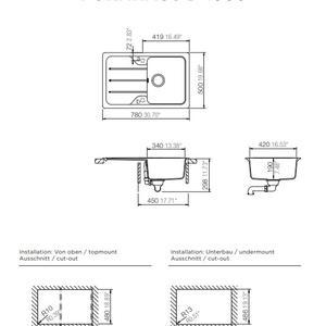 Схема на кухненска мивка Schock Formhaus D-100S