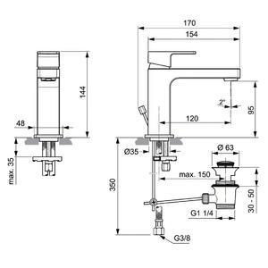 Схема на смесител за умивалник  EDGE  A7101