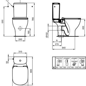 Схема на WC комплект Tesi AquaBlade T033601