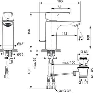 Схема на смесител стоящ за умивалник CONNECT AIR  A7022