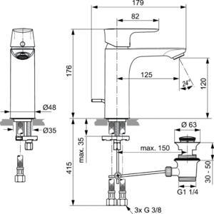 Схема на смесител стоящ за умивалник Grande  CONNECT AIR  A7054GN