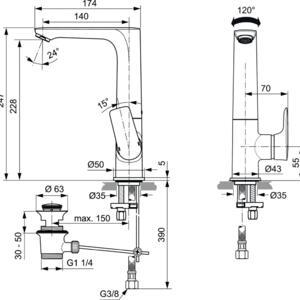 Схема на смесител стоящ за умивалник с висок чучур CONNECT AIR  A7020A2