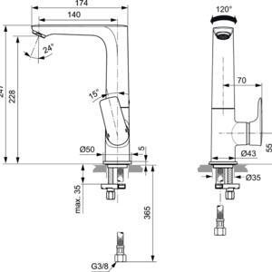 Схема на смесител стоящ за умивалник с висок чучур CONNECT AIR  A7023A5