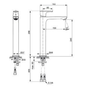 Схема на смесител стоящ за умивалник VESSEL CONNECT AIR  A7027GN