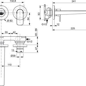 Схема на смесител стенен за умивалник Connect Air A7009GN