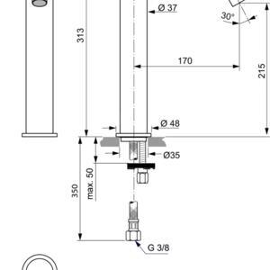 Схема на смесител за умивалник VESSEL JOY BC782