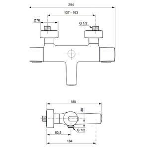 Схема на термостатен смесител за вана/душ CERATHERM 100 NEW  A4623