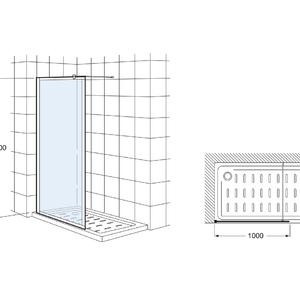 Victoria Фиксиран панел за душ корито с държач към срещуположната стена
