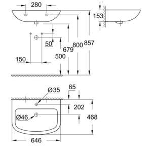 Схема за умивалник 65см Грое