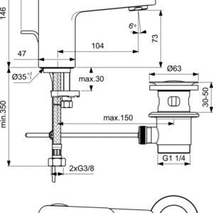 Схема на смесител за умивалник H75 Студен Старт  CERAPLAN BD215