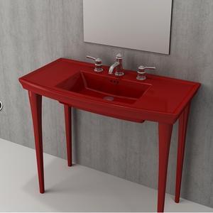 Мивка с плот Bocchi Lavita 100см - червен гланц