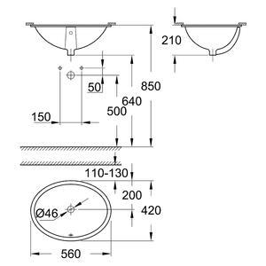 Схема за умивалник 55см за вграждане