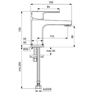 Схема на душ колона с термостатен смесител CERATHERM T100 A7240