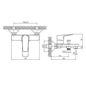 Схема на смесител за вана/душ LILE 01LIL401CR
