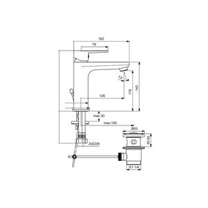 Смесител за умивалник Tyria BC159HO  хром/бял мат