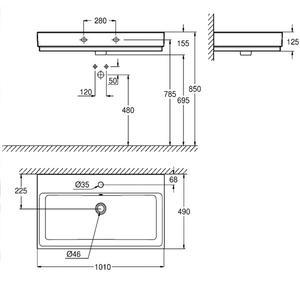 Схема на Мивка за баня 100см. Grohe Cube Ceramic