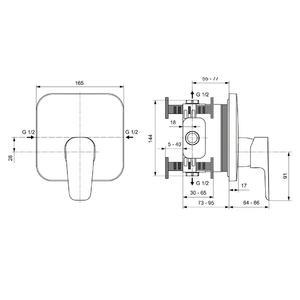 Схема на смесител вграден за душ CERAPLAN III A6114