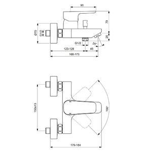 Схема на смесител стенен за вана/душ CERAPLAN III B0718